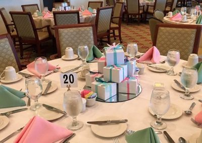 Joy Dibble created gift box centerpieces for each of the tables