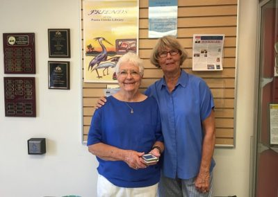 Celia Eames and Mary Knowlton greet our visitors