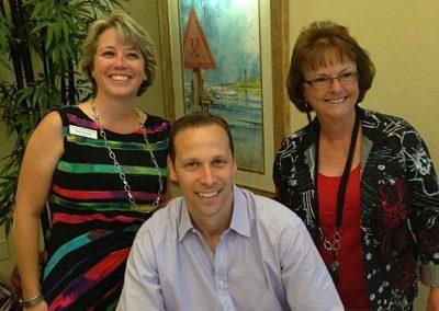 Punta Gorda Library LIterary Luncheon, Author Gregg Hurwitz, Julie Bennett, Margi Willis