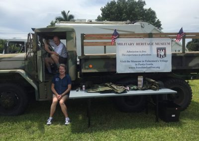 The Military Museum brought vehicles and clothes for the kids to see and try on