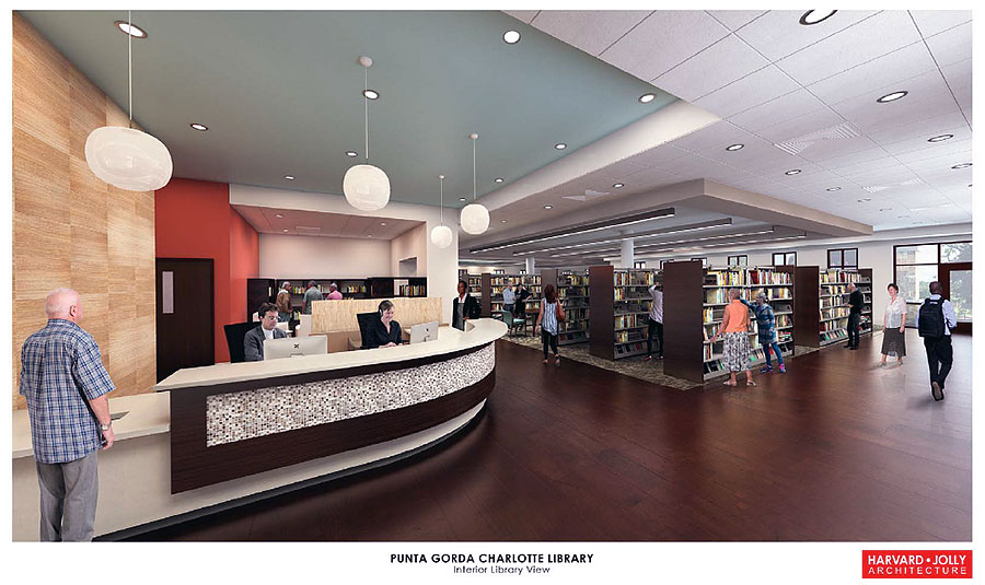 Punta Gorda New Library Rendering Interior