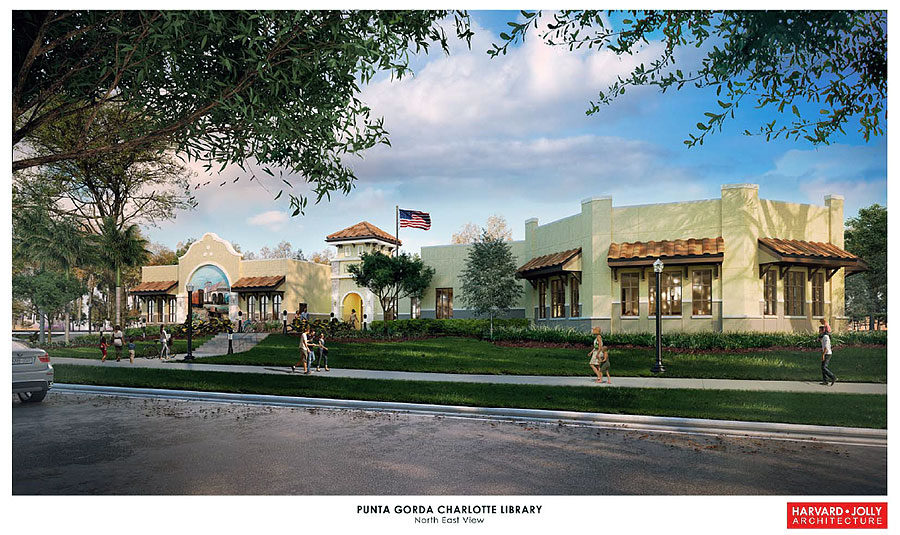 Punta Gorda New Library Rendering Northeast View